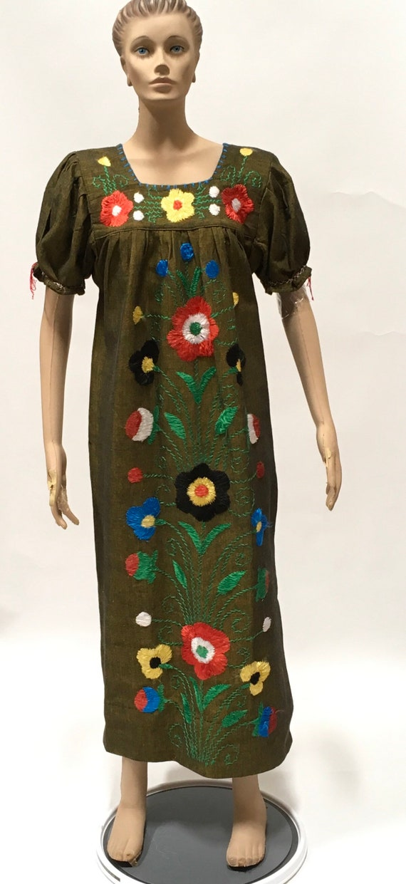 Ethnic Dress Hand Embroidered Floral Maxi Frock Vi