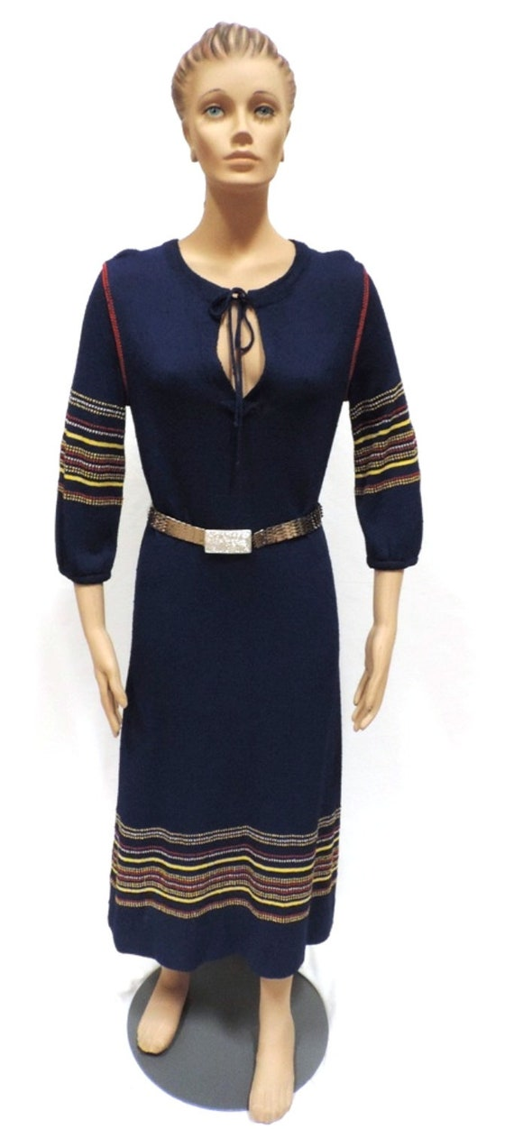 1970s Festival Dress Goldworm Blue Striped Texture