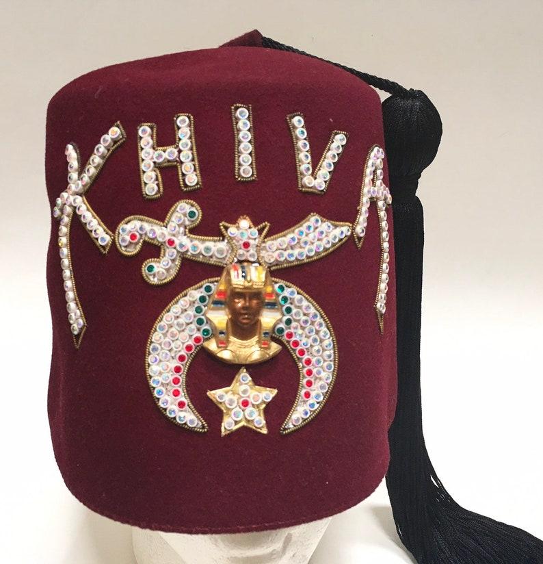 Fez Hat, Khiva Shriners Texas, Rhinestone Masonic Cap, Vintage Theater  Movie, Size 7 3/8