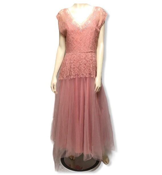 1940 Dress Pink Tulle Evening Gown Glen Joan