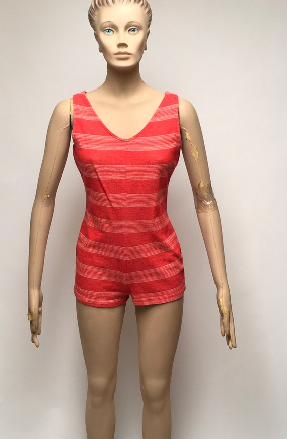 Swimsuit One Piece Cover Skirt Red Boy Shorts Swi… - image 7