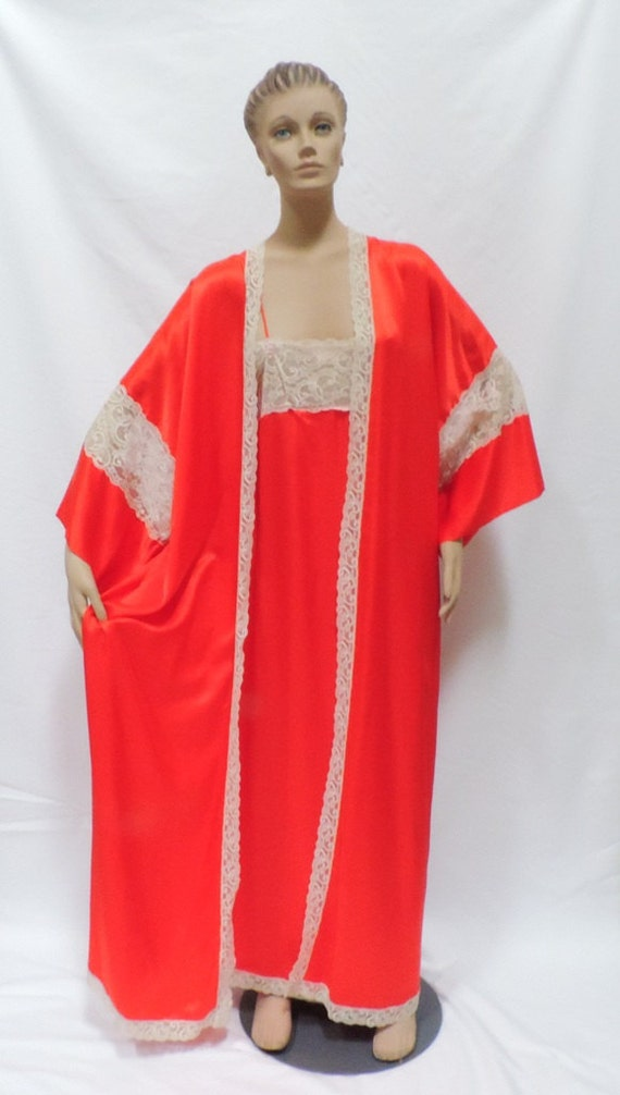 INTIME Peignoir Set Nightgown Robe Red Lingerie
