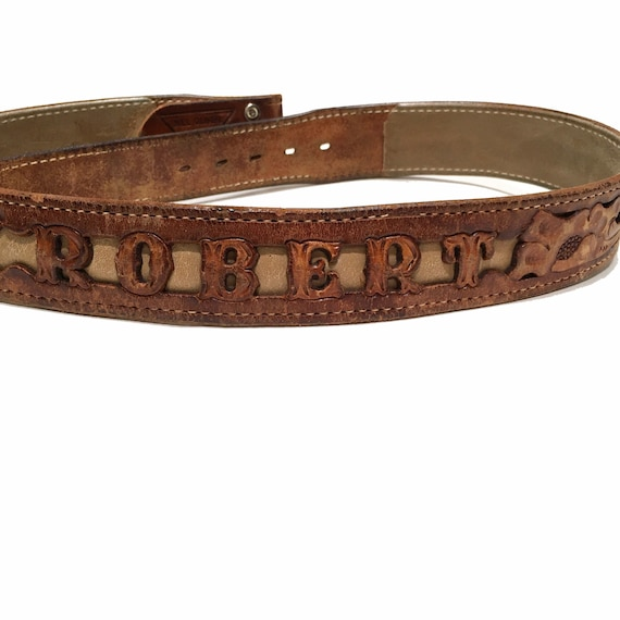 Western Leather Tooled Belt Robert - image 10
