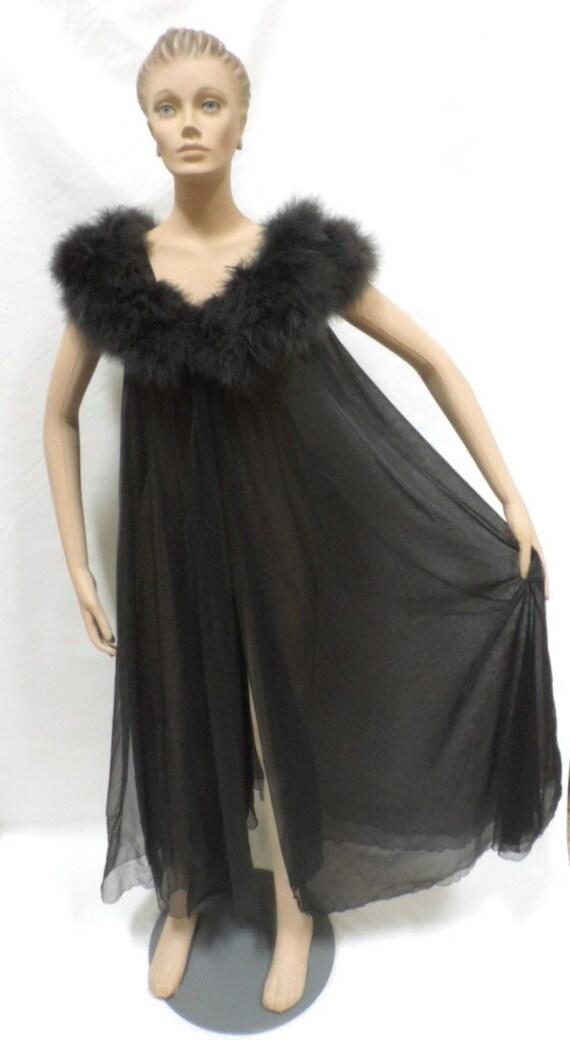 Double Chiffon Lingerie Set Marabou Feather Black