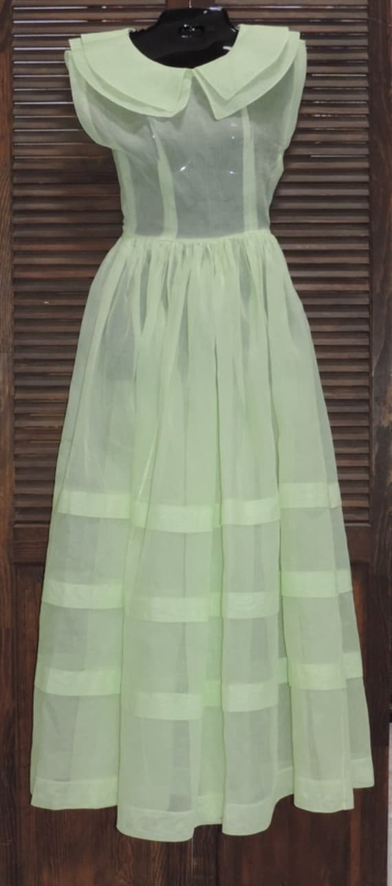 1930s Dress Pale Green Organza Fairy Kei Dress Un… - image 3