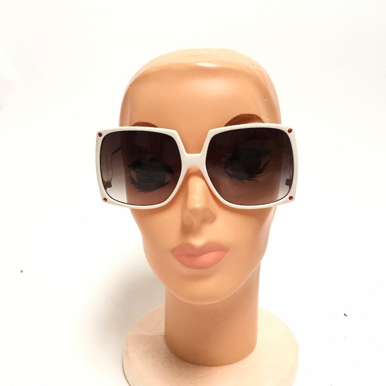 70s Oversized Sunglasses White Large Square Vintage Taiwan Disco Eyewear