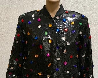 Sequin Bomber Jacket Silk Black Tie Colorful Stone Zip Front Statement Unisex Outerwear Vintage 80s