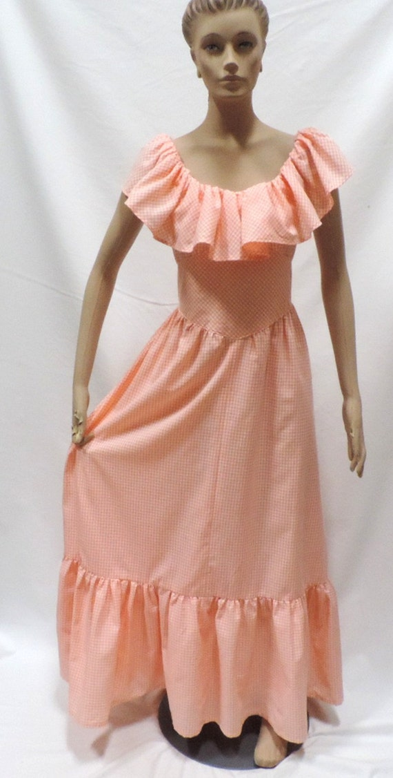 70s Prairie Dress Orange Gingham