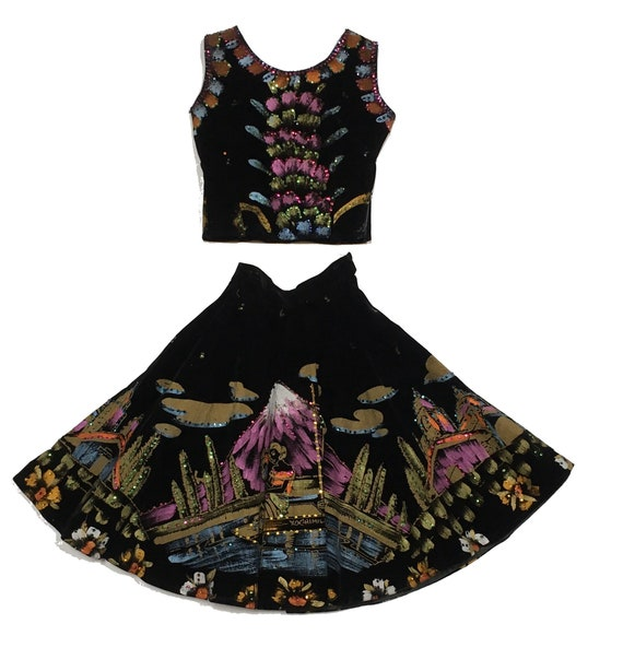 1950s Hand Painted Circle Skirt Top Sequin Salpra