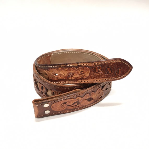 Western Leather Tooled Belt Robert - image 2