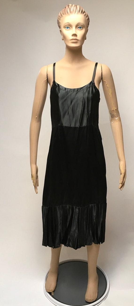 40s Black Satin Slip Dress