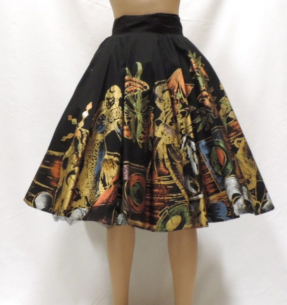 1950s Circle Skirt Mexico Hand Painted Black Gold