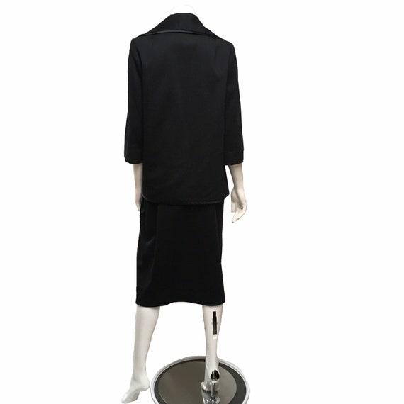 1950 Lilli Ann Knit Skirt Suit Black - image 2
