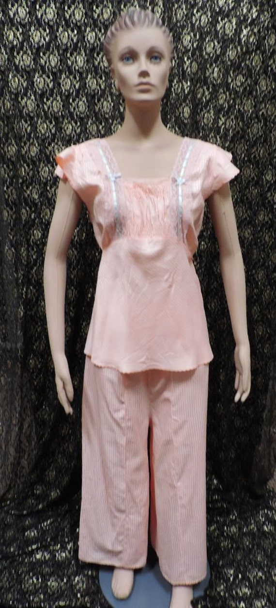 1940s Pajamas Wide Leg Pants Peach Dream Line Loun