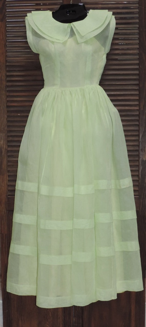 1930s Dress Pale Green Organza Fairy Kei Dress Un… - image 1