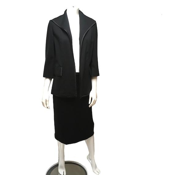 1950 Lilli Ann Knit Skirt Suit Black