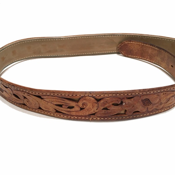 Western Leather Tooled Belt Robert - image 5