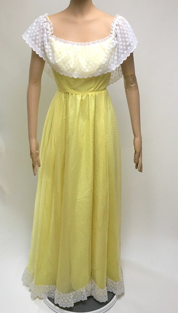 Prairie Dress Yellow Swiss Dot Maxi