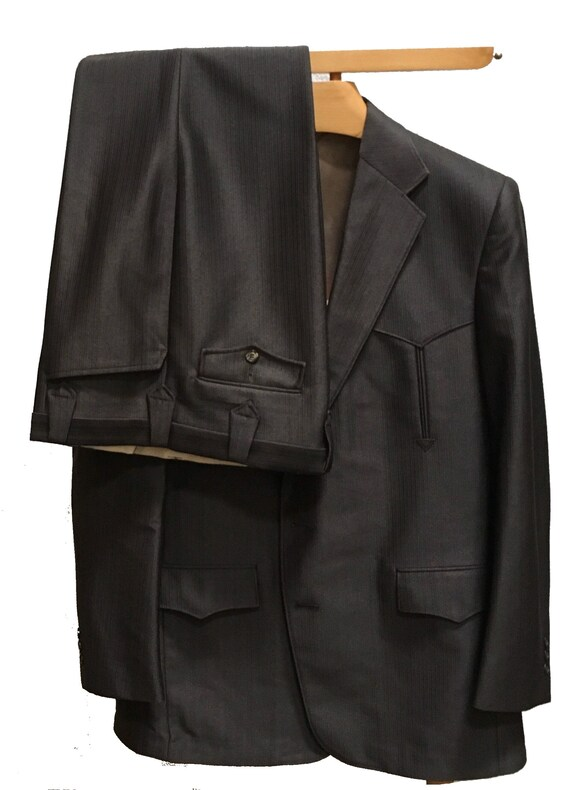 Western Suit Pagano West Shiny Dark Brown Arrow Bl