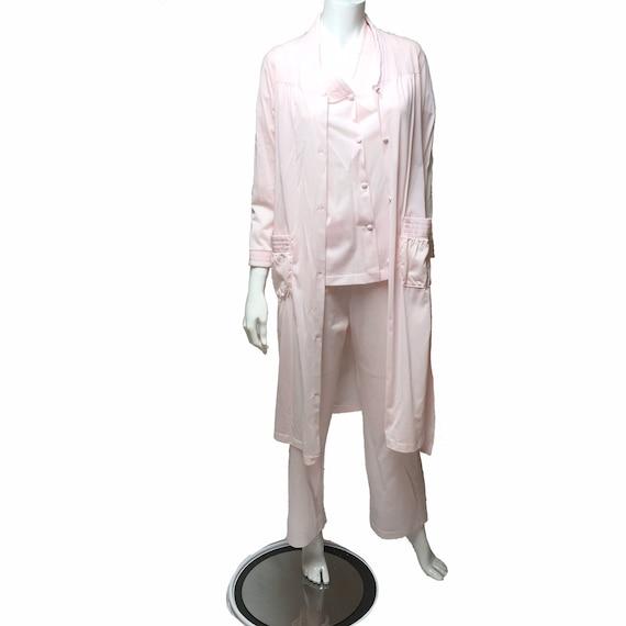 Pink Pajamas and Robe Henson Kickernick Nylon Lou… - image 2