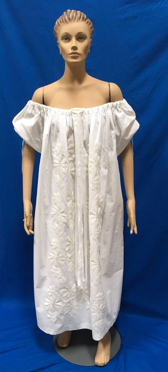 Embroidered Dress XXL White Ethnic Frock Summer We