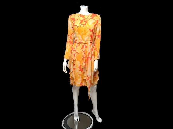 Bill Blass Silk Floral Dress I Magnin Ruffled I Ma
