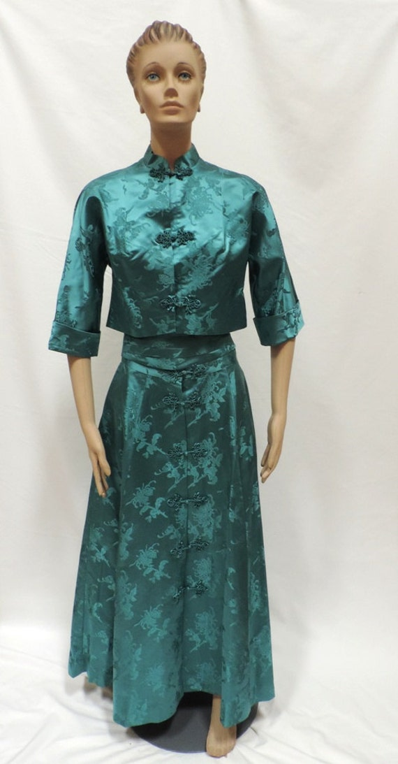 Cheongsam Skirt Suit Green Silk