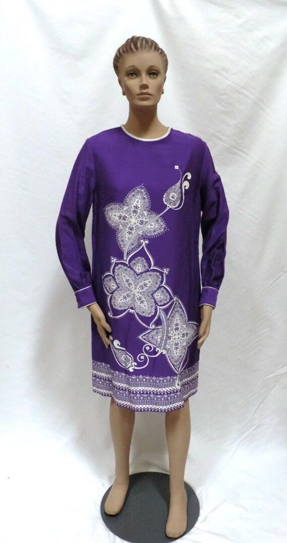 Alfred Shaheen Dress Purple Hawaii Tropical Flower