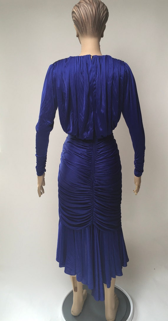 80s Ruched Dress Blue Stretch Rhinestone Evening … - image 2