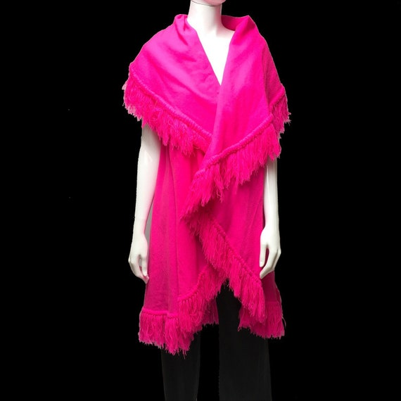Neon Pink Poncho Fringed Shawl Handwoven Mexico