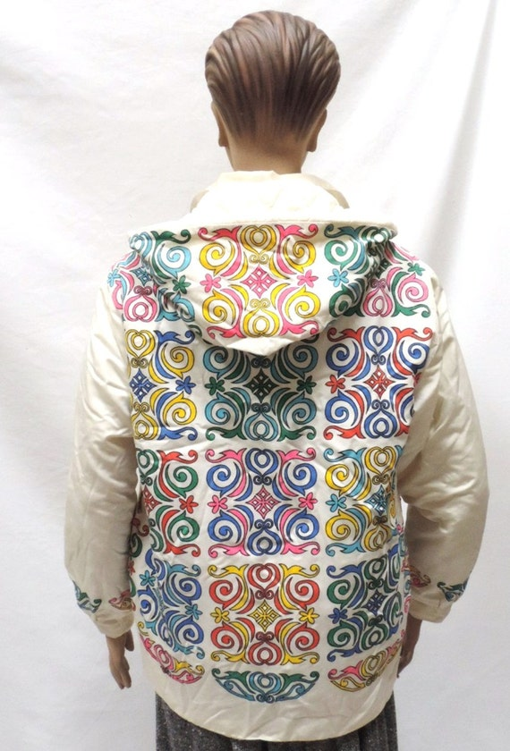 Mr Dino Jacket Large Quilted Abstract Coat Vintage