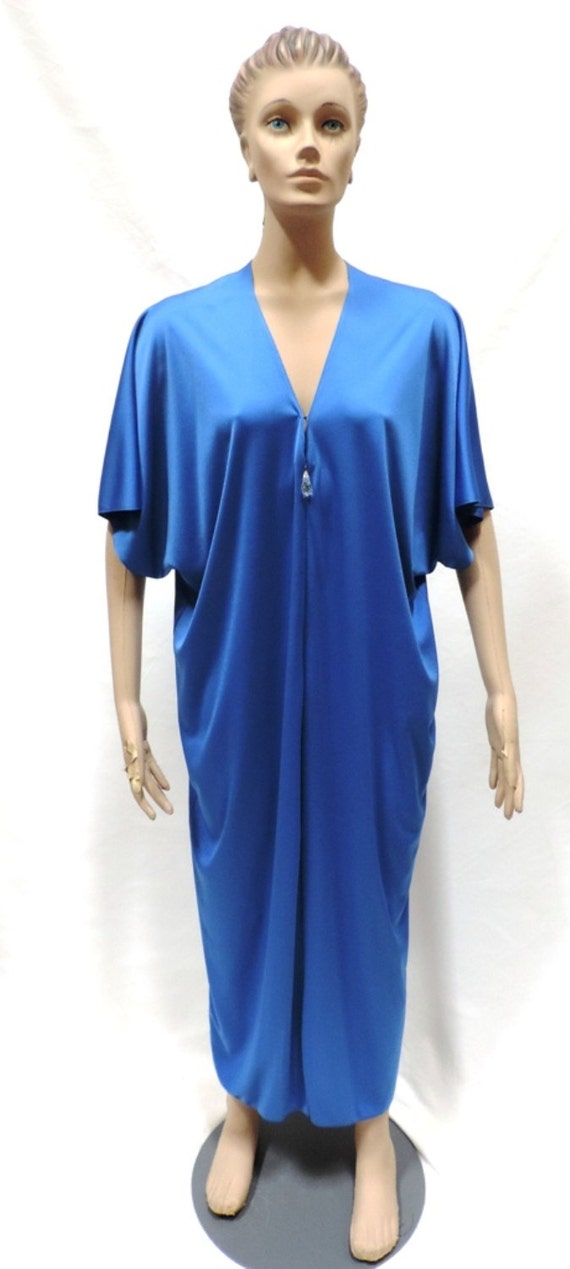 Lucie Ann Caftan Grecian Loungewear Royal Blue Ny… - image 4