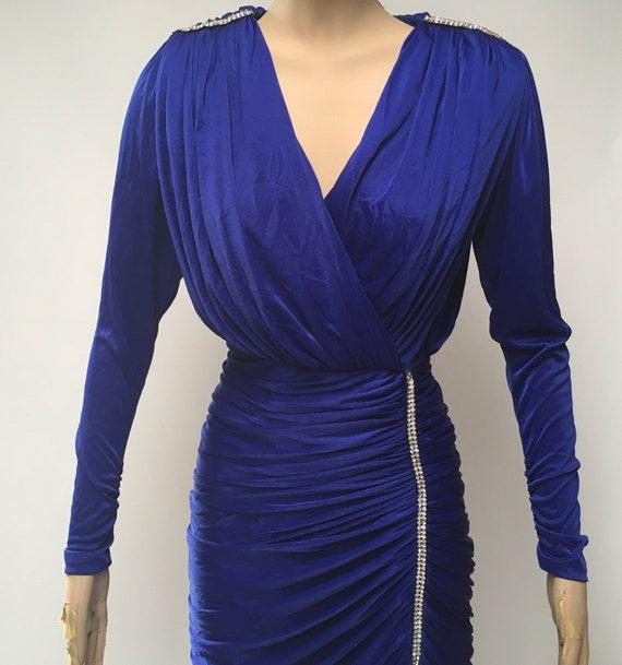 80s Ruched Dress Blue Stretch Rhinestone Evening … - image 3