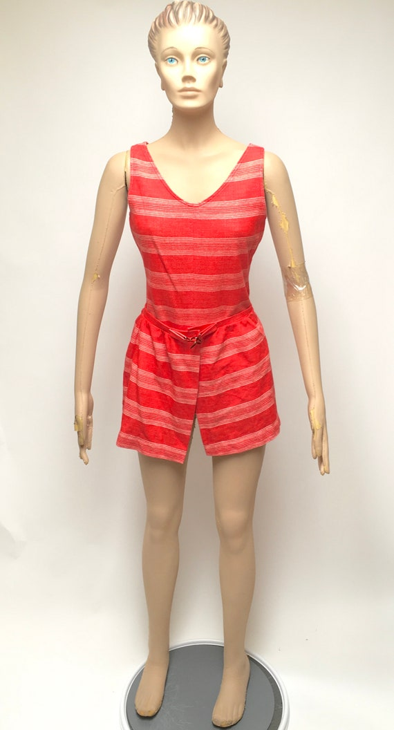 Swimsuit One Piece Cover Skirt Red Boy Shorts Swi… - image 2