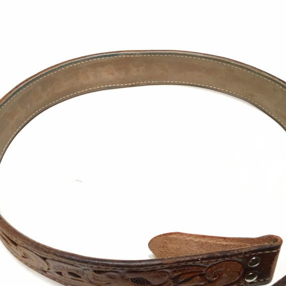 Western Leather Tooled Belt Robert - image 6