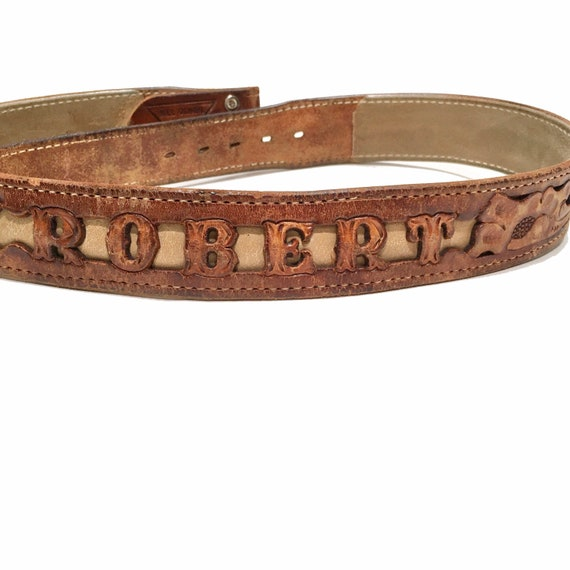 Western Leather Tooled Belt Robert - image 1