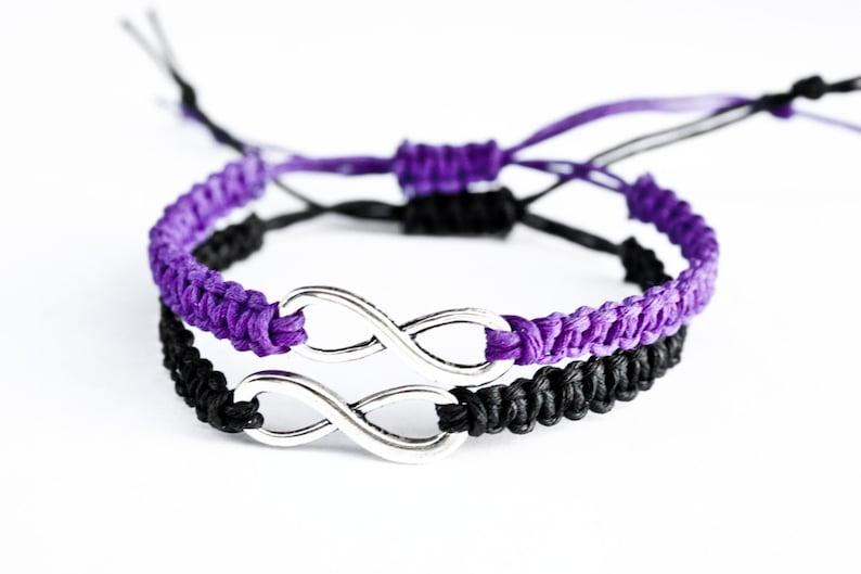 Infinity Couples Bracelets Purple and Black Friendship Set image 0