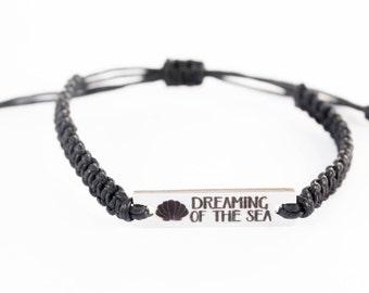 Dreaming of the Sea, Word Bracelet, Beach Bracelet, Stainless Steel, Gift for Her, Bar Charm, Word Charm, Friendship Bracelet, Inspiring
