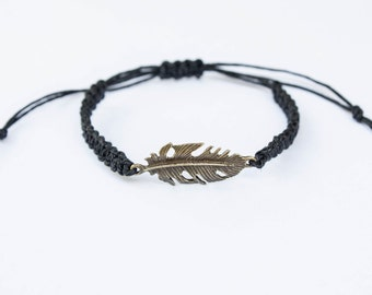 Feather Bracelet, Friendship Bracelet, Fairytale Gift, Bronze Charm, Feather Jewelry, Girlfriend Gift, Best Friend Gift Boho