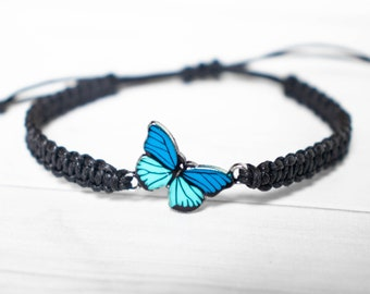 Dark Blue and Teal Butterfly Bracelet - Butterfly Jewelry, Gift for Women or Men, Insect Jewelry, Whimsical Jewelry, Fairytale Gift