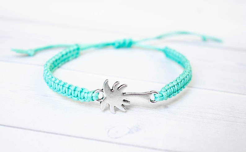 Palm Tree Bracelet Tree Jewelry Nature Vacation Jewelry Teal