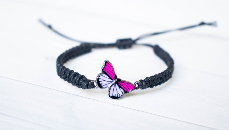Light Pink and Fuchsia Butterfly Bracelet  Butterfly Jewelry image 0