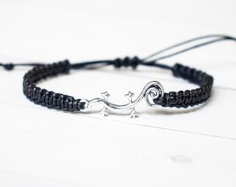 Gecko Bracelet, Lizard Bracelet, Reptile Jewelry Friendship Bracelet Adjustable Bracelet Lizard Enthusiast Friend Gift