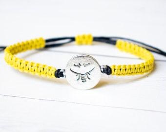 Bee Bracelet - Honey bee Jewelry, Insect Bracelet ,Gift for Women or Men, Animal Jewelry, Queen Bee, Outdoors Gift