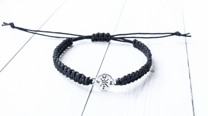 Compass Bracelet Compass Jewelry Outdoors Gift Travel Gift Black