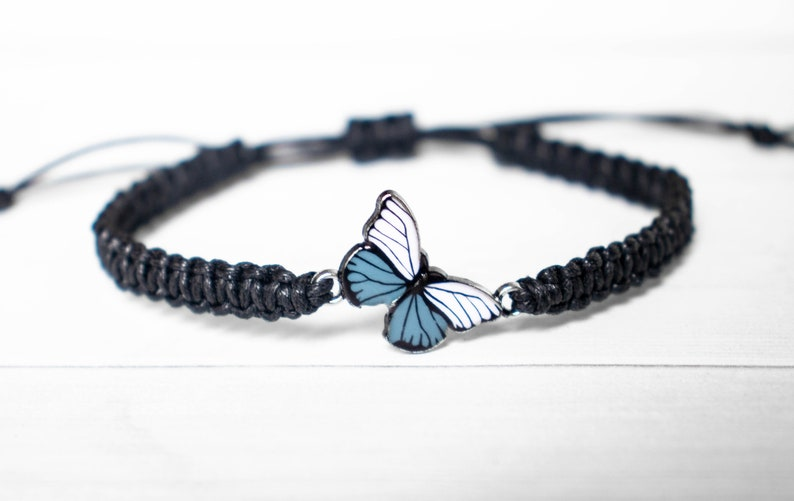 White and Gray Butterfly Bracelet  Butterfly Jewelry Gift Black