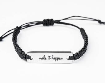 Inspirational Bracelet, Make It Happen Bracelet, Motivational Jewelry, Inspiration, Inspiration Jewelry, Gift for Her, Inspiration Gift