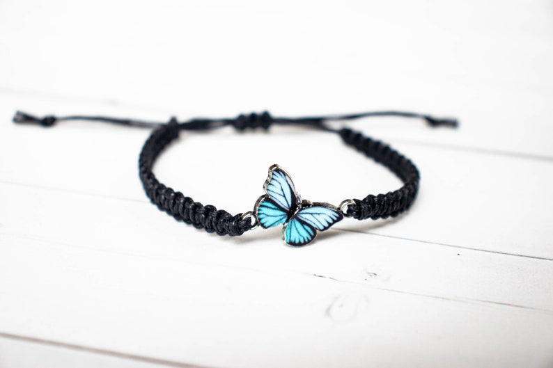 Light Blue Butterfly Bracelet  Butterfly Jewelry Gift for image 0