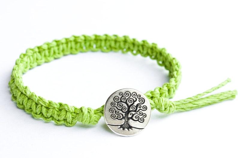 Tree Bracelet Button Bracelet Lime Green Hemp Bracelet Tree image 0