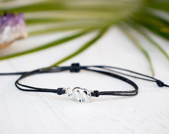 Small Elephant Bracelet made with Cotton Cord, Elephant Jewelry, Friendship Bracelet, Dainty Bracelet, Animal Bracelet